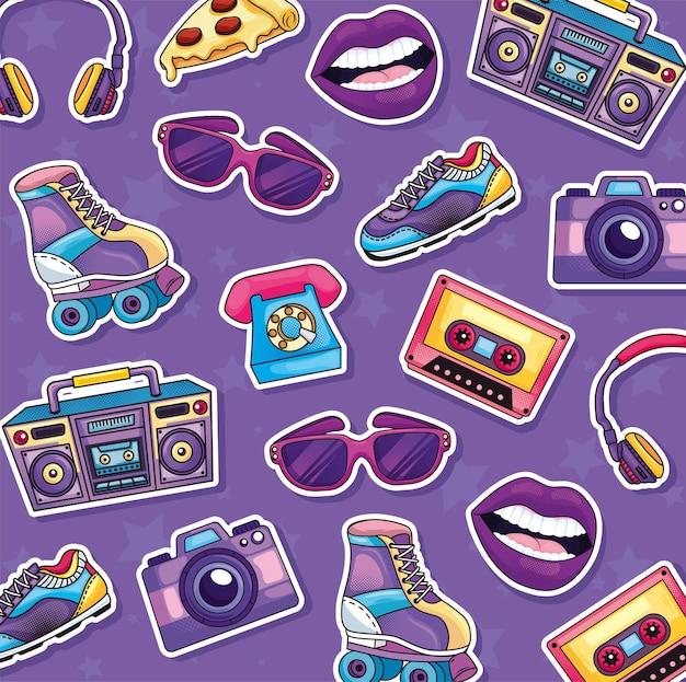 Padrão retro com objetos dos anos 80