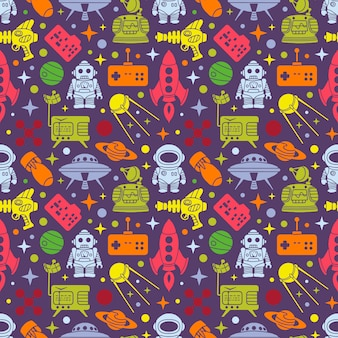 Padrão retro de ficção científica. multi objetos coloridos no fundo escuro
