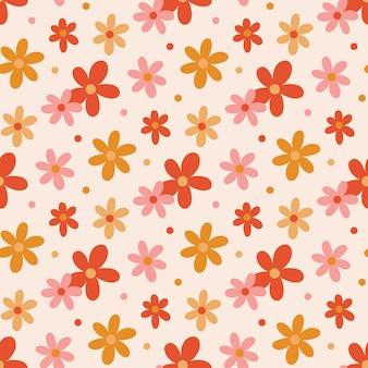 Padrão retro sem costura com flores margaridas em uma paleta de cores quentes estilo vintage 60s 70s