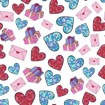 Padrão romântico bonito com presentes, corações e envelopes. design de vetores do dia dos namorados.