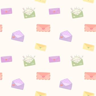 Padrão romântico com envelopes coloridos e cartas de amor em branco em estilo simples. fundo bonito para o dia dos namorados.