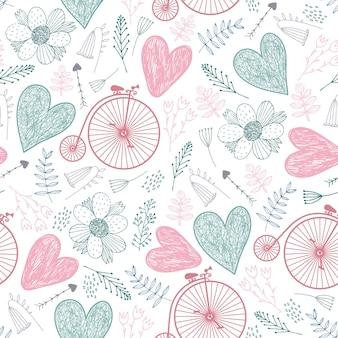 Padrão romântico sem emenda. corações, florais, bicicletas vintage, primavera, verão, plano de fundo do casamento cores pastel