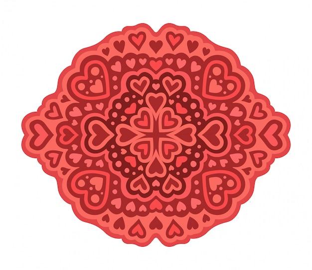 Padrão romântico vermelho com formas diferentes de coração