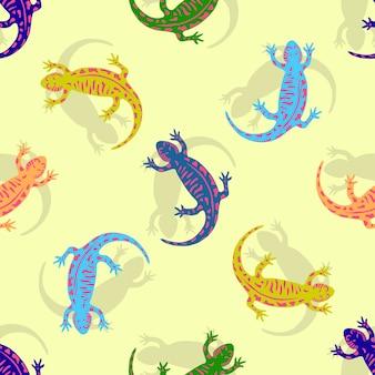 Padrão sem costura colorido colorido salamandra. vector para crianças têxteis.