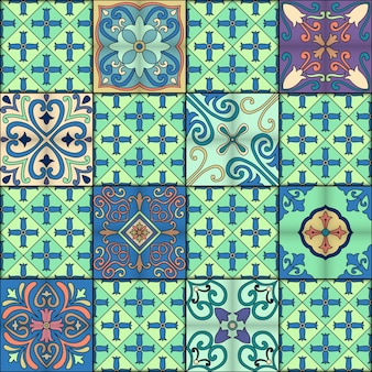 Padrão sem costura com azulejos portugueses em estilo talavera. azulejo, marroquino, ornamentos mexicanos.