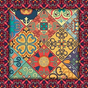 Padrão sem costura com azulejos portugueses em estilo talavera