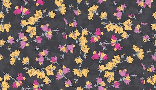 Padrão sem costura com bellflowers. ornamento floral