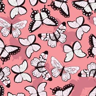 Padrão sem costura com borboletas coloridas desenhadas a mão, fundo rosa