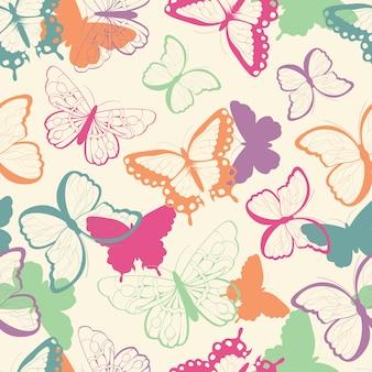 Padrão sem costura com borboletas coloridas desenhadas a mão, silhueta vibrante