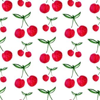 Padrão sem costura com cerejeira de aguarela. textura de fundo de impressão infinita. design de tecido. vector de frutas da aguarela