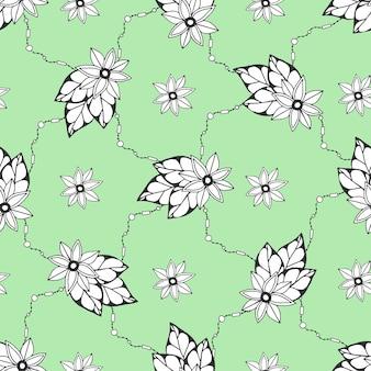 Padrão sem costura com flores desenhadas à mão. padrão sem costura pode ser usado para papel de parede, preenchimento de padrões, tecido. têxtil
