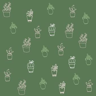 Padrão sem costura com flores em vasos