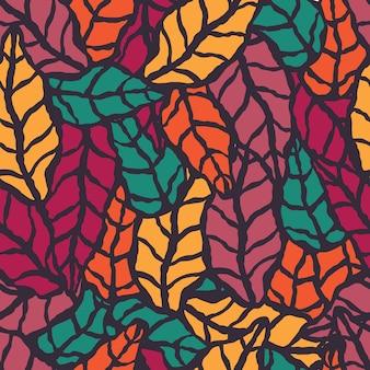 Padrão sem costura com folhas naturais desenhadas a mão
