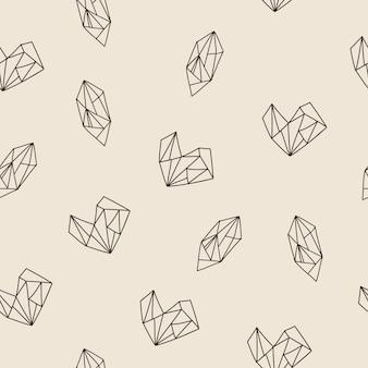 Padrão sem costura com formas de coração e diamante. ilustração do vetor.