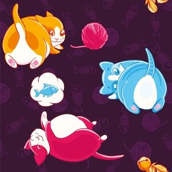 Padrão sem costura com gatos coloridos brincalhões felizes sonhando com peixes.