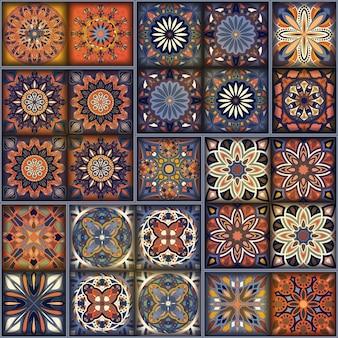 Padrão sem costura com mandalas decorativas. elementos de mandala do vintage. patchwork colorido.