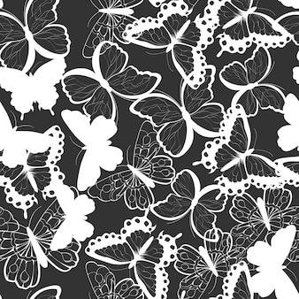 Padrão sem costura com mão desenhada silhueta borboletas, preto e branco