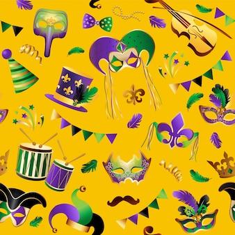 Padrão sem costura com máscaras de carnaval em segundo plano