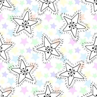 Padrão sem costura das estrelas desenhadas a mão. fundo infantil para têxtil ou embrulho