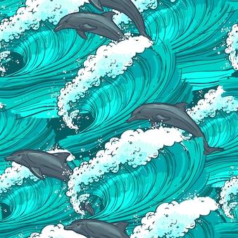 Padrão sem costura das ondas do mar