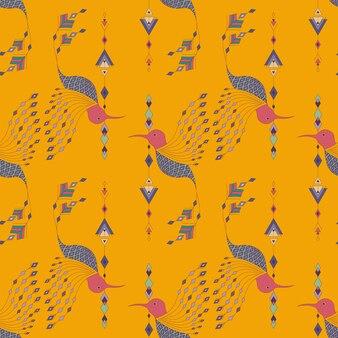 Padrão sem costura de aves aztecas exóticas. estilo tribal abstrato geométrico.