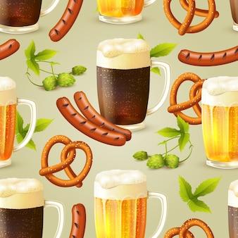 Padrão sem costura de cerveja