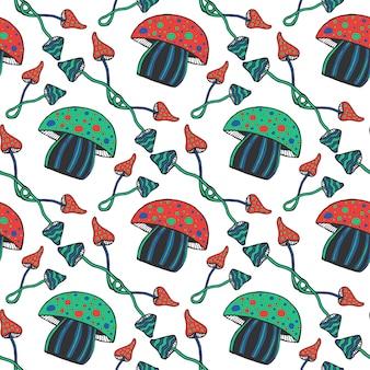 Padrão sem costura de cogumelos psicadélicos coloridos à mão. doodle fundo do vetor mágico com cogumelo venenoso