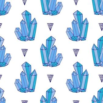 Padrão sem costura de cristais azuis. minerais rochas desenhadas à mão. moda vetorial