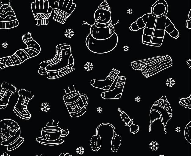 Padrão sem costura de elementos de inverno preto e branco