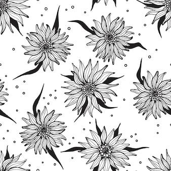 Padrão sem costura de girassol com tinta desenhada à mão. ilustração vetorial de flores preto e branco Vetor Premium