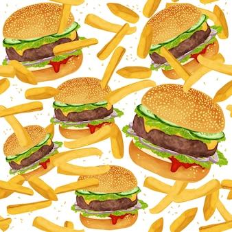 Padrão sem costura de hamburger