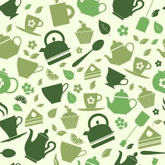 Padrão sem costura de ilustração plana de chá verde