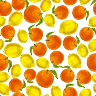 Padrão sem costura de laranja limão