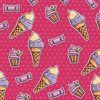 Padrão sem costura de manchas com sorvete