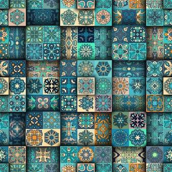 Padrão sem costura de mosaico tribal étnico tribal.