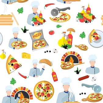 Padrão sem costura de pizza maker