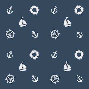 Padrão sem costura de verão com barco à vela