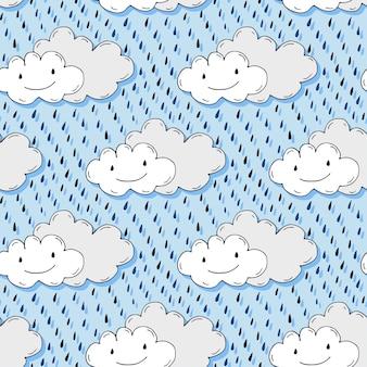 Padrão sem costura desenhado a mão do doodle com nuvens bonitas. fundo engraçado do vetor