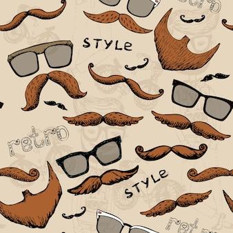Padrão sem costura retrô com óculos e bigode