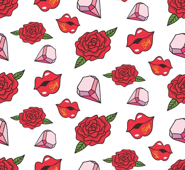 Padrão sem costura vintage com rosa, diamante e lábios
