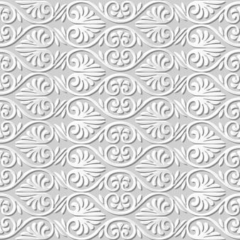 Padrão sem emenda 3d papel arte curva espiral forma de leque flor