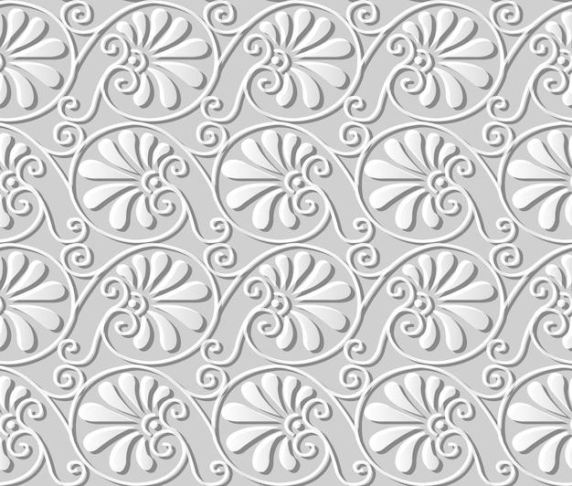 Padrão sem emenda 3d papel arte espiral curva redonda folha de leque