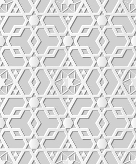 Padrão sem emenda 3d papel arte geometria islâmica cruz polígono estrela