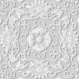 Padrão sem emenda 3d papel arte jardim botânico espiral videira folha flor