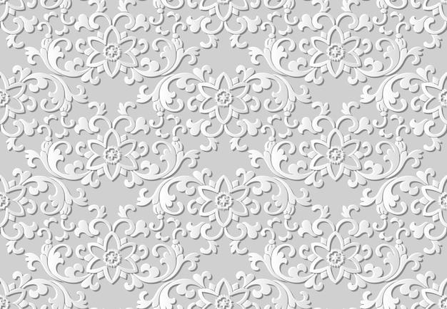 Padrão sem emenda 3d papel arte oriental jardim botânico flor folha espiral