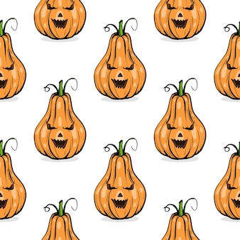 Padrão sem emenda, abóbora laranja formas diferentes para arte de esboço desenhado à mão de halloween
