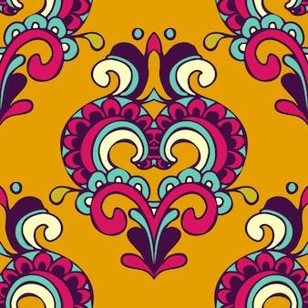 Padrão sem emenda abstrato amarelo festivo de vetor de damasco