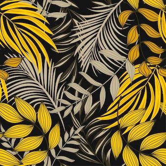Padrão sem emenda abstrato brilhante com folhas tropicais coloridas e flores sobre fundo escuro