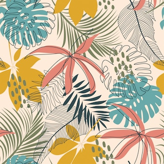Padrão sem emenda abstrato brilhante com folhas tropicais coloridas e plantas em delicado