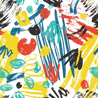 Padrão sem emenda abstrato colorido com traços de tinta áspera, pinceladas, rabisco em branco